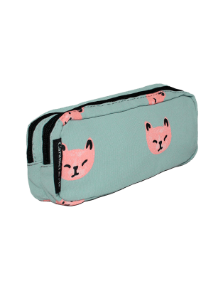 Double Pencil Case Pink Cats