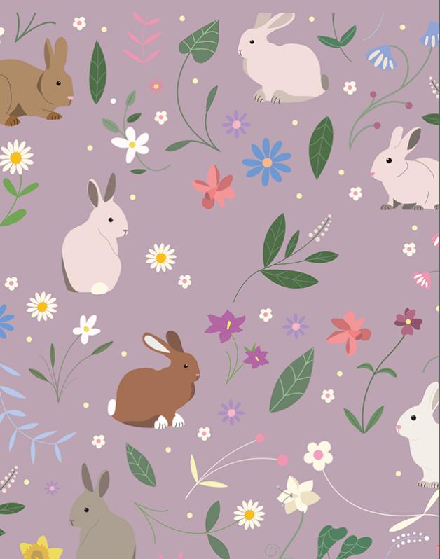 Double Pencil Case Purple Rabbits