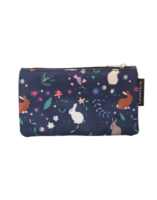 Large Pencil Case Blue Rabbits
