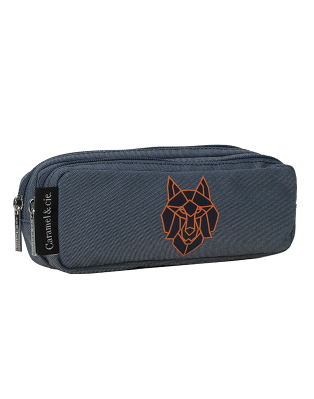 Double pencil case Blue Wolf